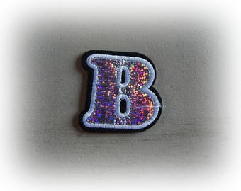 1 patch fusible patch / applique letter B alphabet in silver, white and black tones