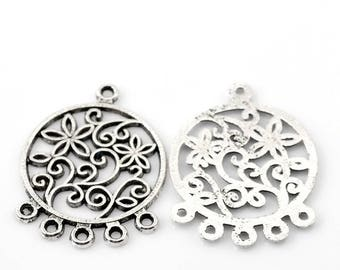 4 flowers 5 branches 36 * 25 mm silver metal connectors