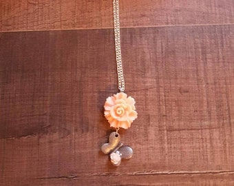 Peach flower and butterfly chain necklace