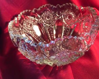 Vintage pressed glass bowl, large