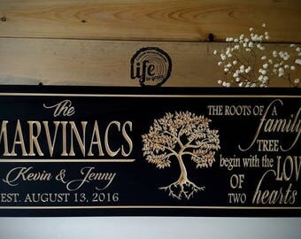 Wood Family Name sign, carved wood sign, established name sign, anniversary gift, wedding gift, family Christmas gift, Established sign