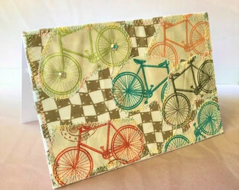 Card for biker, biking 4x6 fabric card, blank note card, art to frame, card for triathlete, bicycle, gift for biker, swarovski crystals