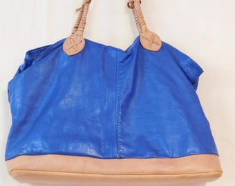 Big slouchy blue leather tote bag--made in Mexico