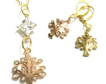 Cubic Zirconia Tree of Life Pendant Set, Dazzling Gold Pendant and Earrings, Gift for Her, Uniquely Different Earring and  Pendant Set,