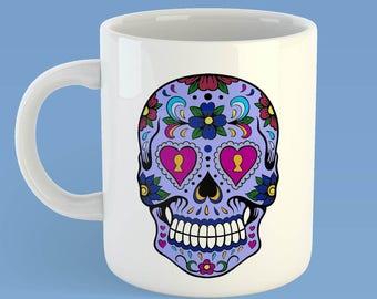 Day of the Dead, Sugar Skulls, Dia de los Muertos, Candy Skull mug,  gothic skull gift, Mexican art , personalised skull mug, halloween mug
