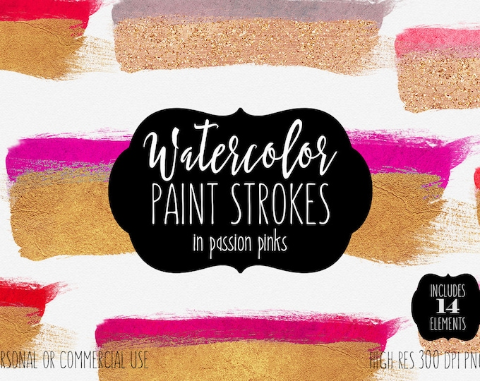 METALLIC GOLD & PINK Watercolor Brush Strokes Clipart Commercial Use Clip Art 14 Paint Splash Rectangles Watercolor Paint Stroke Clip Art