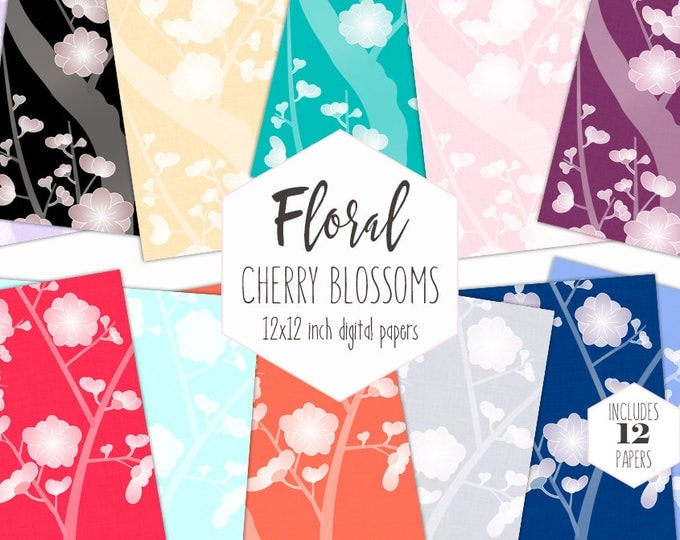 CHERRY BLOSSOM WEDDING Digital Paper Pack Floral Backgrounds Rainbow Scrapbook Papers Asian Flower Patterns Party Printable Commercial Use