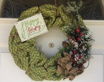 Holiday wreath. Happy holidays chevron burlap wreath.
