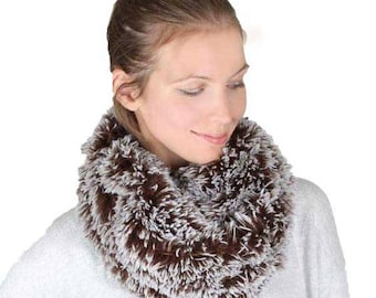 Gorgeous Brown Gray Furry Infinity Scarf