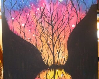 acrylic on 16x20 stretched canvas painting galaxy night sky with trees