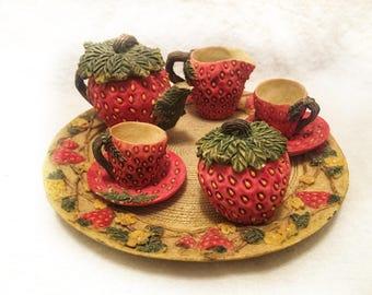 Cute Miniature Tea Set With Strawberries Vegetable Garden Design  10 Piece