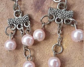 Dangle drop earrings,pink silver,elegant,light,modern,fashion,trendy,minimalist jewellery,stylish, dance,party earrings,female,friend gift