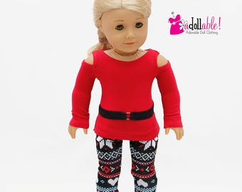 American made Girl Doll Clothes, 18 inch Doll Clothing, Open Shoulder Top, Black/Red Leggings made to fit like American girl doll clothes