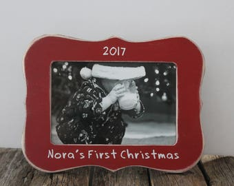 Holiday First CHRISTMAS Picture Frame, Personalized Christmas Frame, New Baby Christmas Frame