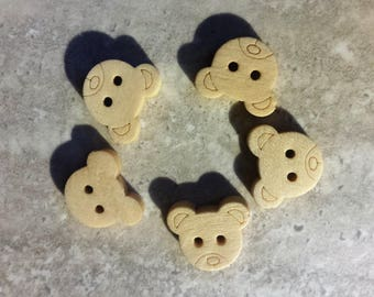 set of 6 Teddy bear buttons to embroider 2 holes