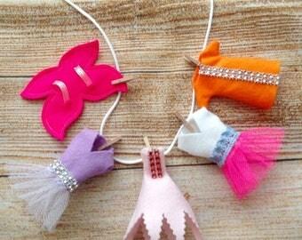 Sale Fairy Garden 3D Clothes, Fairy Washing Line, Fairy Garden Accessories, Set of 5 Fairy Clothes