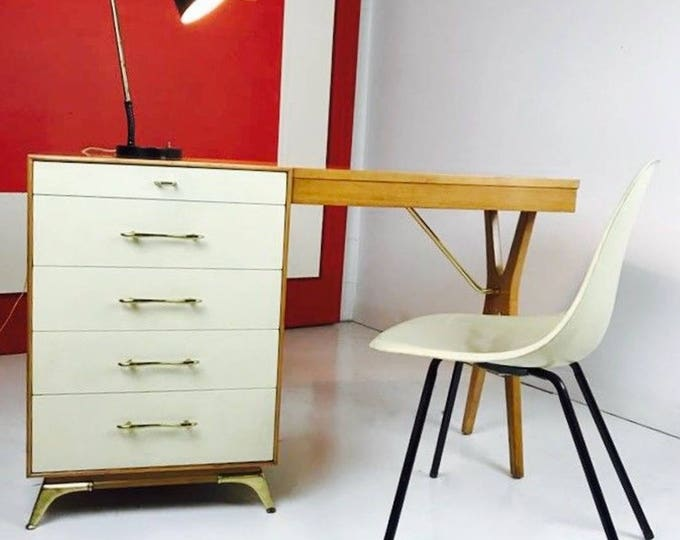 Super Cool Mid Century Modern X BASE DESK Lowey? Renzo RUTILLI? Brass Legs