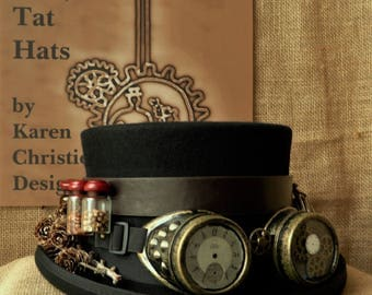 Steampunk Top Hat - The Hunter Gatherer Topper with Goggles, Handmade, Vintage Style, Unique, Derby Day Hat, Gent's Black Hat with Goggles.