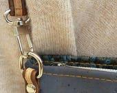 Vegan crossbody bag. Cork leather GreyBlack Tile Cross Body Baggift for hervegan leatherenvironmentally friendlynatural