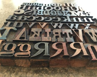 Wood Letterpress, Wood Printer Block Letter, Wood Type Set, Assoroted Font Wood Letterpress
