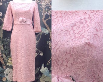 Vintage pink all lace wiggle dress