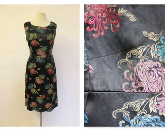 60's Black Oriental style embroidered wiggle/shift dress