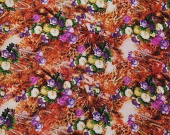 "Ethnic Multicolor Fabric, Floral Print, Apparel Fabric, Sewing Decor Accessories, 42"" Inch Cotton Fabric By The Yard ZBC9312A"