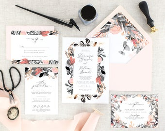 Watercolor Floral Wedding Invitation Printed - Modern Wedding Invitation Pink - Blush Wedding Invite with RSVP - Pink Watercolor - Set of 10