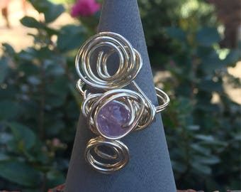 Beautiful Amethyst Silver Wire Wrapped Ring~~ Third Eye Chakra ~ Protective Energy