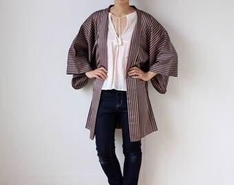 stripe kimono jacket, kimono top, Haori, Japanese kimono jacket /1743
