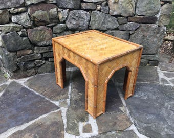 Rattan Faux Bamboo Side Table