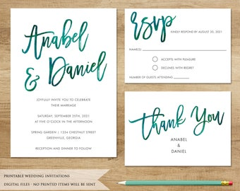 Watercolor Wedding Invitation. Printable Invitation. Emerald Invitation. Watercolor Brush Invitation. Brush Font. Marsala Invitation