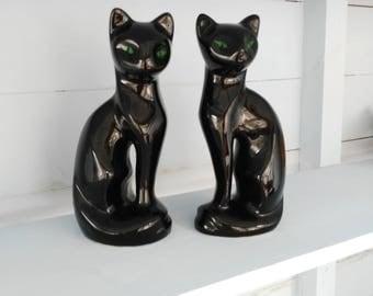 vintage cats green eyes halloween decor lucky black cats woolbro pair cats - Black Cat Halloween Decorations