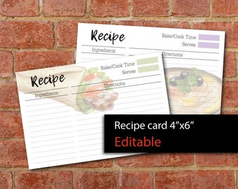 "Editable Recipe cards 4""x6"" printable,Pdf instant download #1"