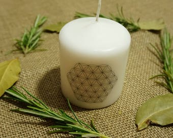 Flower of Life Pillar Candle