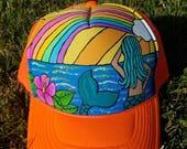 Neon orange mermaid rainbow ocean trucker hat! Mermaid snapback.  Painted trucker hat.  Mermaid and rainbow snapback.  Hawaiian trucker hat!