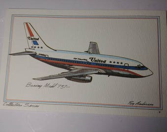 United Airlines Boeing Model 737 Post Card