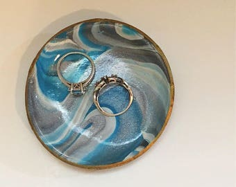 Blue Marbled Ring Dish - Gray Marbled Ring Dish - Gray and Blue Ring Dish - Marbled Clay Ring Dish