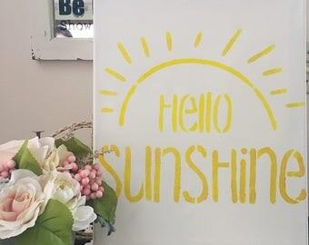 Hello Sunshine - Hello Sunshine Painting - Coffee Station Sign - Motivational Decor - Hello Sunshine Office Sign - Sunshine Decor
