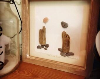 Pebble Art - Two Little Birds Handmade Picture - OOAK