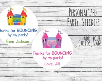 Bounce House Personalized Stickers 12/20/35 Birthday Party Favor Tags, Girl or Boy Theme, Bag Tags, Thanks for Coming, 1st Birthday, 5th