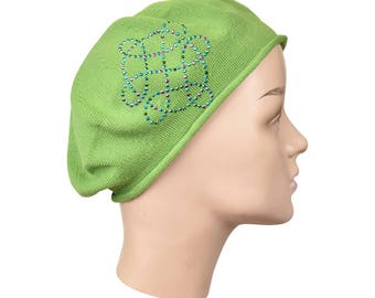 Ladies Apple Green Beret Hat With a Multi-Color Swirl Rhinestone Applique Fashionable Comfortable Cotton Womens Beret Hat