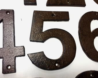 3 Numbers & Free Shipping, wrought iron house number, rustic house number, Address Numbers, Number Applique, House Address, Distressed