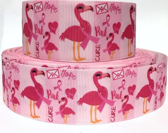 """1"""" Flamingo Breast Cancer Awareness Dog Collar - Side Release Buckle (1"""" Width) - Martingale Option Available"""