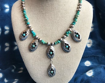Reworked vintage Navajo sterling silver and six-stone turquoise shadow box pendant necklace with sterling Navajo pearls & turquoise nuggets