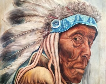 Vintage Painting of Native American Chief - Mystery Artist - H. Detrick - Headdress - Wall Art - 1980s? - 36 x 24