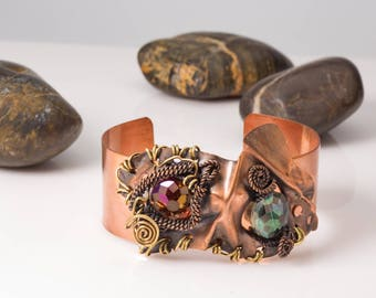 Beaded Copper Cuff, Wire Wrapped Statement Bracelet, Fold Formed Metal Bracelet, Unique Handmade Copper Jewelry, Adjustable Copper Cuff