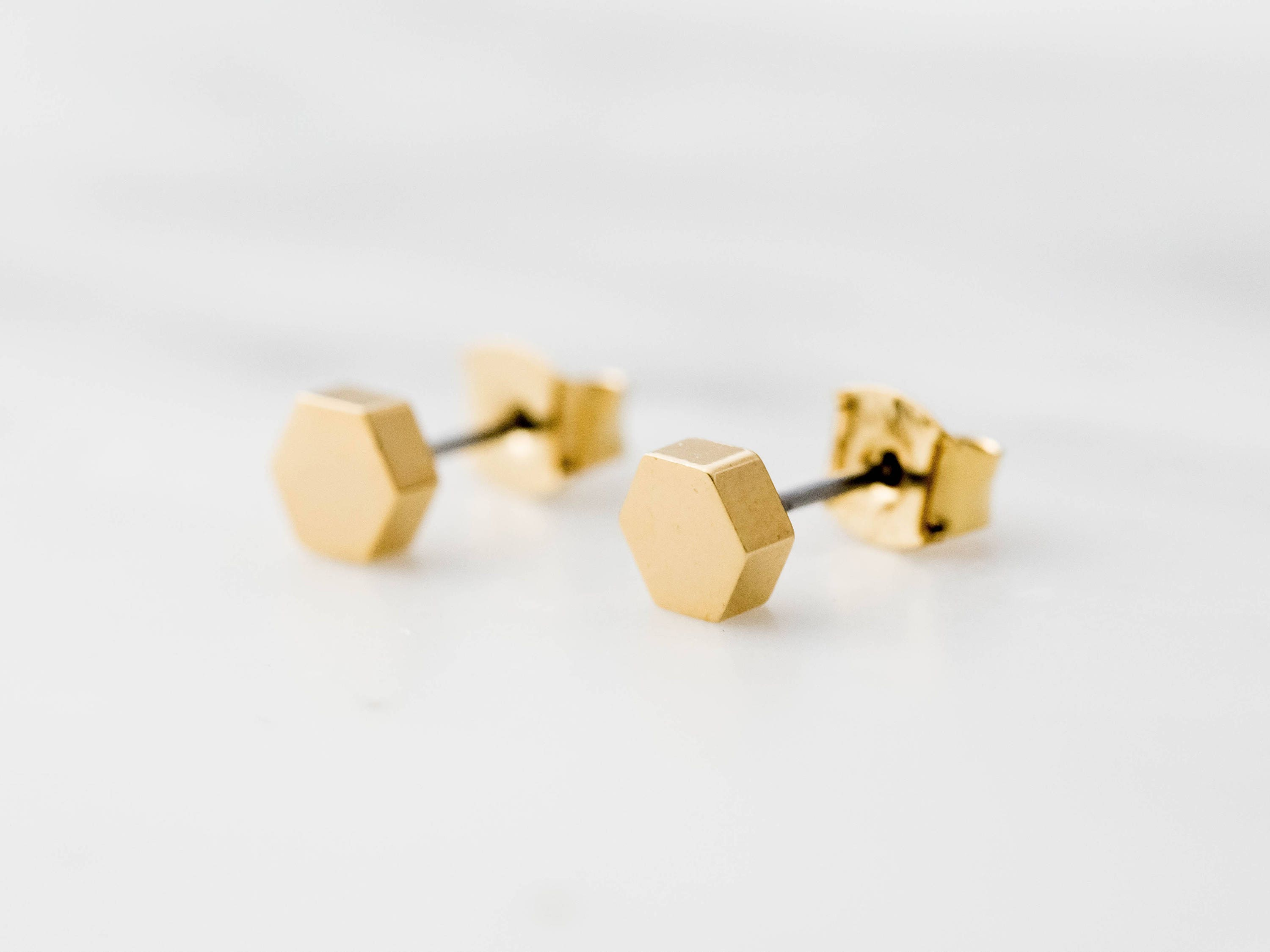 fullxfull hexagon listing gold black earrings isometric statement geometric il leather cut silver cube stud post and laser