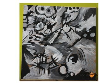 Dog and storm acrylic Maconite 24 by 24 inches