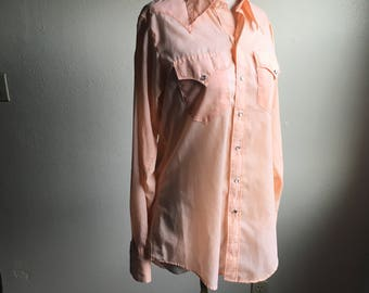 vintage rockmount ranch wear RRW tru west custom fitted mens country western long sleeve pearl snap front collar shirt made in usa